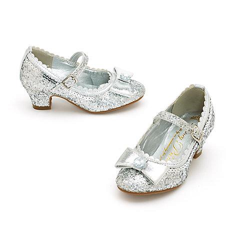 Zapatos de fiesta infantiles de princesa Disney con acabado de purpurina plateada