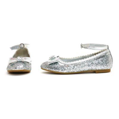 Zapatos infantiles de princesa Disney con acabado de purpurina plateada