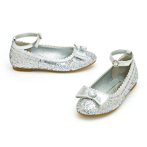 Disney Princess Silver Glitter Shoes For Kids