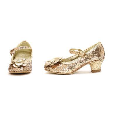 Zapatos de fiesta infantiles de princesa Disney con acabado de purpurina dorada