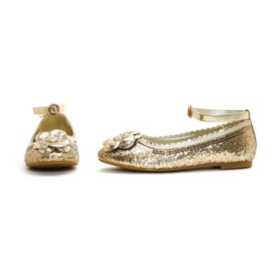 Disney Princess Gold Glitter Shoes For Kids