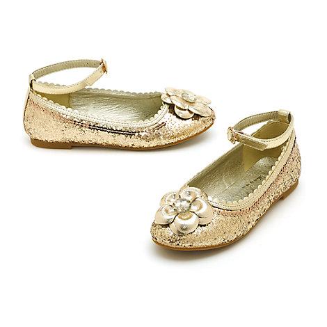 Zapatos infantiles de princesa Disney con acabado de purpurina dorada