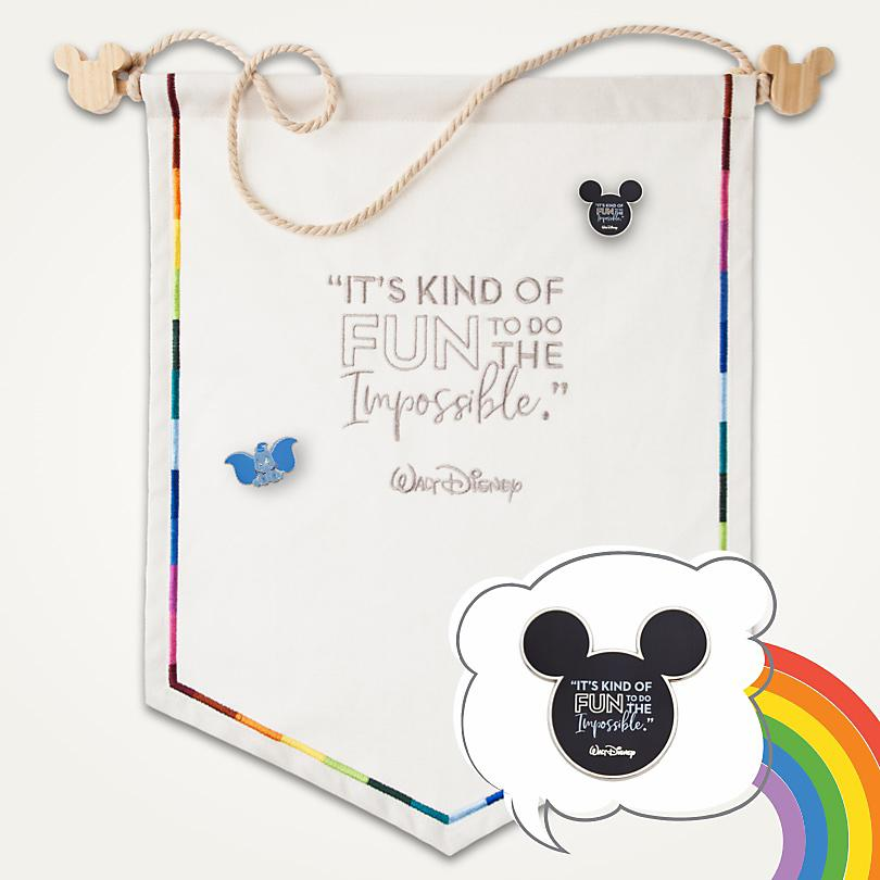Display Your Pins All Year This canvas pennant features a Walt Disney quote and rainbow border