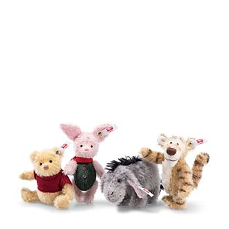 Steiff Lot de 4 peluches de collection Jean-Christophe et Winnie l'Ourson