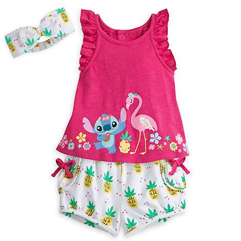 Conjunto de camiseta y pantalones cortos de Stitch para bebé