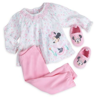 Minnie Mouse Layette Pyjamas and Slippers Baby Set