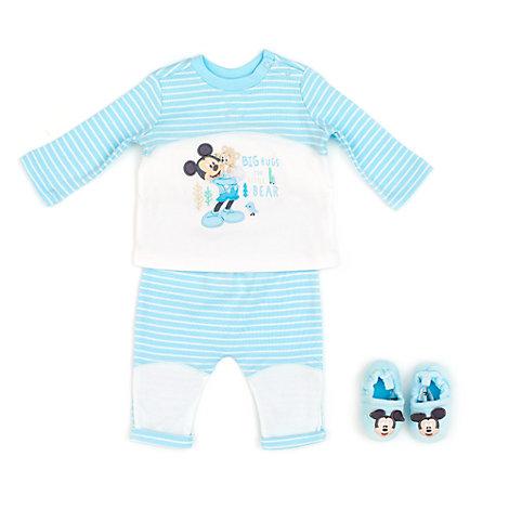 Mickey Mouse Layette babysæt med pyjamas og sutsko