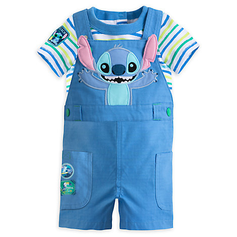 Stitch Baby Dungaree And Body Suit Set