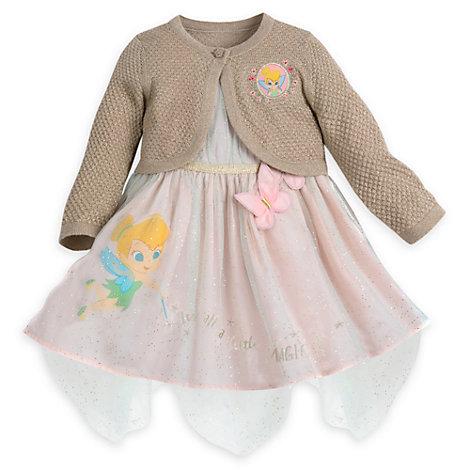 Klokkeblomst babysæt med festkjole, cardigan og trusser