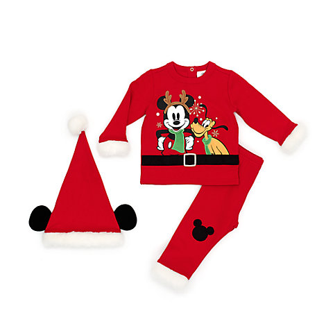 Mickey and Friends Festive Baby Top, Trousers and Hat Set