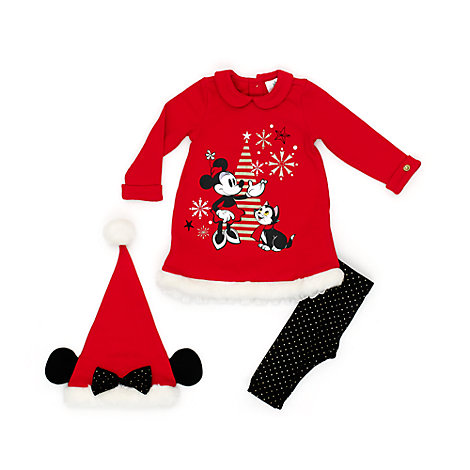 Minnie Mouse Baby Dress, Leggings and Hat Set