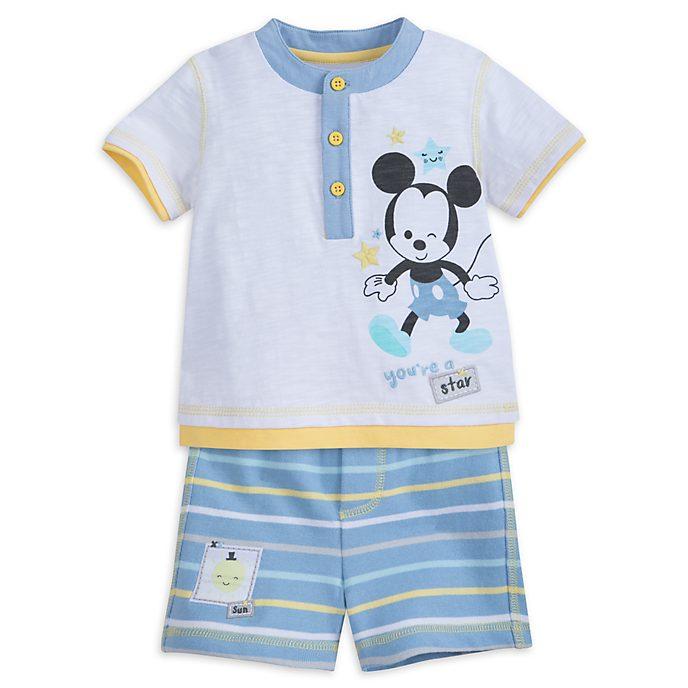 Completo maglietta e pantaloncini baby Topolino