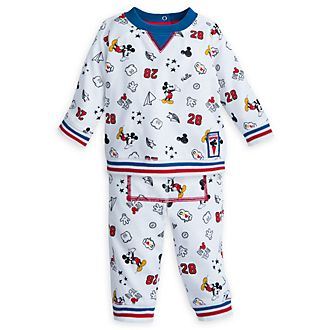 Disney Store Mickey Mouse Baby Long-Sleeved Top and Bottoms Set