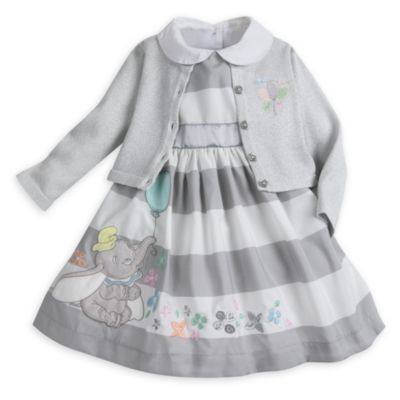 Dumbo Baby Party Dress, Cardigan and Brief Set