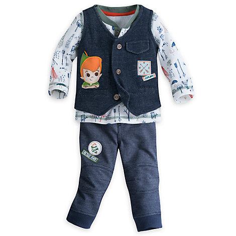 Peter Pan babysæt med top, bukser og vest