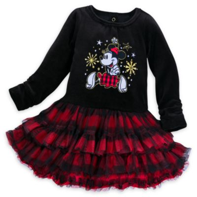 Minnie Mouse juleinspireret babysæt med festkjole og strømpebukser