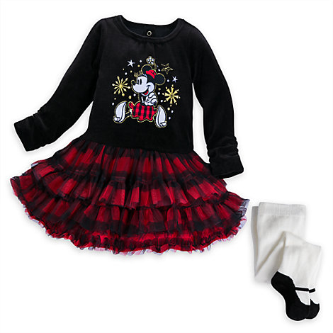 Minnie Maus - Weihnachtliches Partykleid mit Strumpfhose für Babys