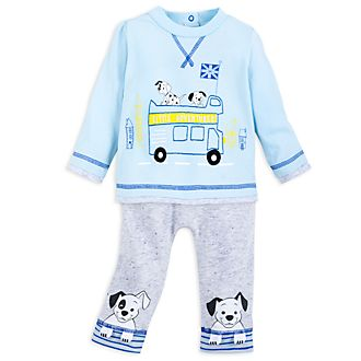 Disney Store 101 Dalmatians Blue Baby Top and Bottoms Set