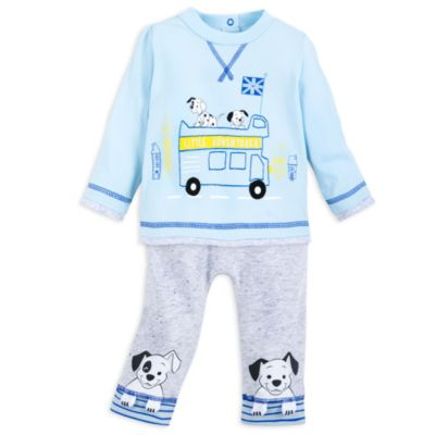 Disney Store 101 Dalmatians Blue Baby Top and Bottoms Set