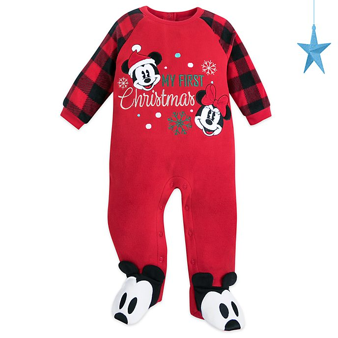 Disney Store Mickey and Minnie Holiday Cheer Baby Blanket Body Suit