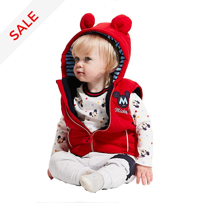 Disney Store Mickey Mouse Baby Gilet, Top and Bottoms Set