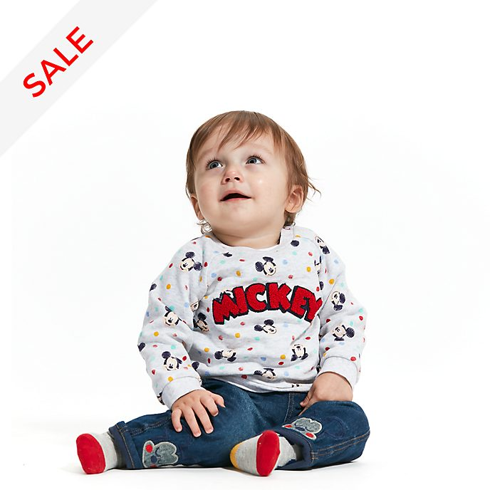 Disney Store Mickey Mouse Baby Sweatshirt, Jeans and Socks Set