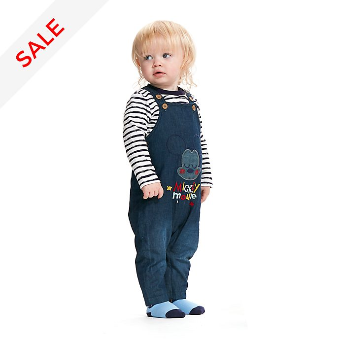 Disney Store Mickey Mouse Baby Dungaree, Top and Socks Set