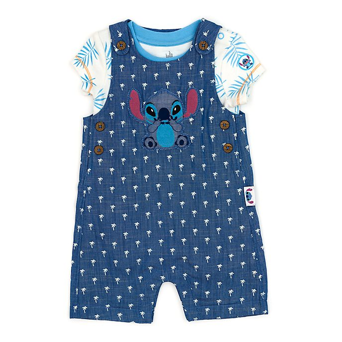 Disney Store Stitch Baby Dungaree and Body Suit Set