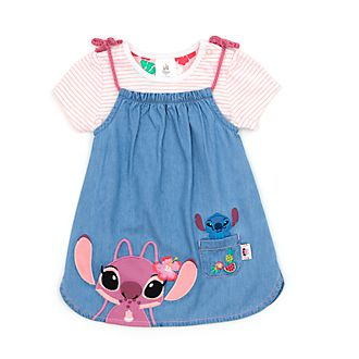 Disney Store Stitch and Angel Baby Pinafore and T-Shirt Set