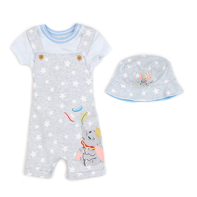 Disney Store Dumbo Baby Dungaree, Body Suit and Hat Set