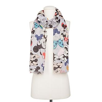 Codello Mickey and Minnie Mouse Grey Scarf