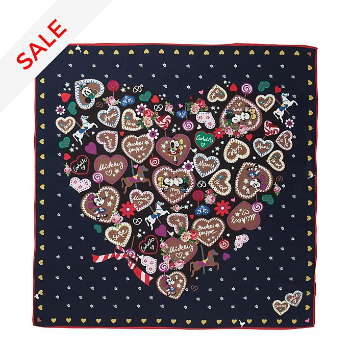 Codello Mickey and Minnie Navy Silk Scarf