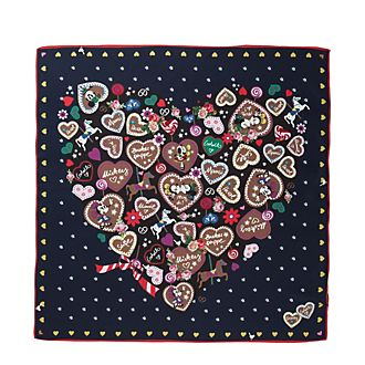 Codello Foulard Mickey et Minnie Mouse en soie bleu marine