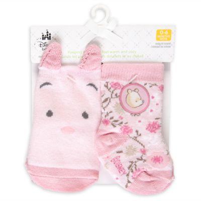 Lot de 2paires de chaussettes roses pour bébé Winnie l'Ourson