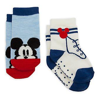 Disney Store Lot de 2paires de socquettes Mickey Mouse pour bébé
