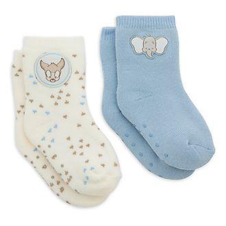 Disney Store Lot de 2paires de socquettes Bambi et Dumbo pour bébé