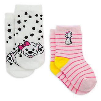 Disney Store Lot de 2paires de socquettes Les 101 Dalmatiens roses pour bébé