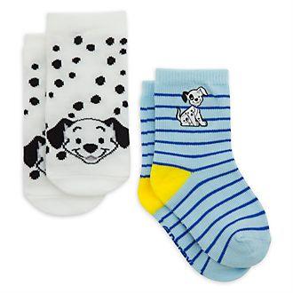 Disney Store Lot de 2paires de socquettes Les 101 Dalmatiens bleues pour bébé
