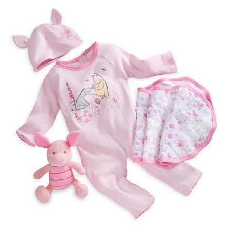 Ensemble cadeau pour bébé Bienvenue à la maison à l'effigie de Porcinet, Winnie l'Ourson