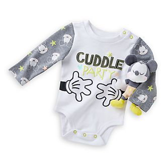 Disney Store Mickey Mouse Bodysuit And Rattle Baby Gift Set