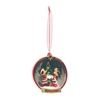 Disneyland Paris - Micky und Minnie Maus Weihnachtsbaumkugel offen