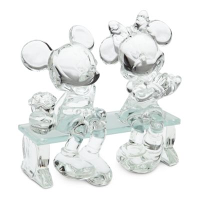 Arribas Glass Collection, Mickey and Minnie Mouse On A Bench Figurine