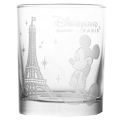 Arribas Glass Collection, Disneyland Paris Mickey Mouse And Eiffel Tower Glass Tumbler