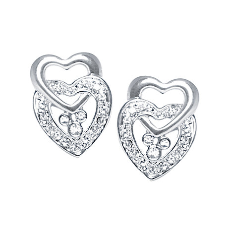 Mickey Mouse Double Heart Earrings, Arribas Jewelled Collection