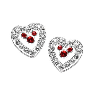 Mickey Mouse Red Heart Earrings, Arribas Jewelled Collection