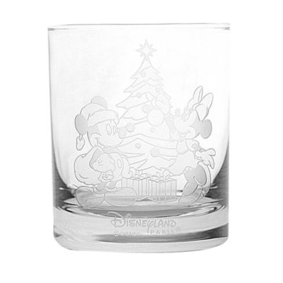 Arribas Glass Collection, Christmas Mickey and Minnie Glass Tumbler