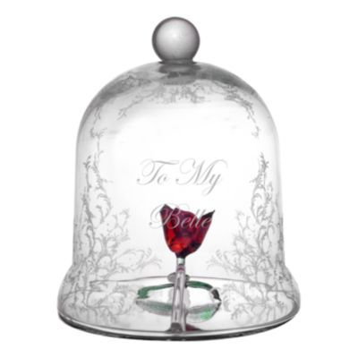 Arribas Glass Collection Lying Rose Dome Ornament, Beauty And The Beast
