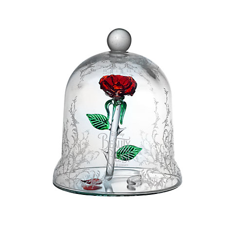 Arribas Glass Collection Rose Dome Ornament, Beauty And The Beast