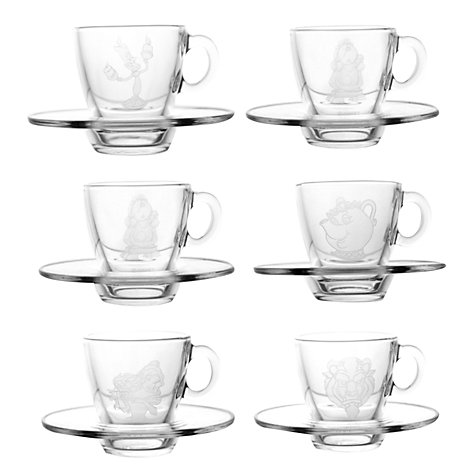 Arribas Glass Collection, Beauty And The Beast Cups and Saucers, Set of 6