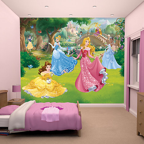 Disney princess 12 panel decorative wall mural for Disney princess wall mural tesco